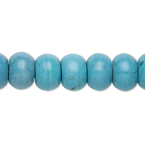 bead, turquoise (imitation), light blue-grey, 12x8mm rondelle. sold per 8-inch strand.