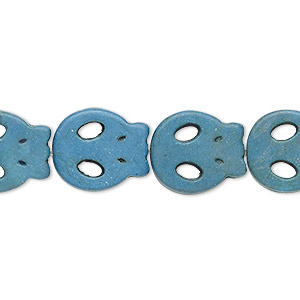 bead, turquoise (imitation), light blue-grey, 15x13mm-15x14mm flat skull. sold per 15-inch strand.