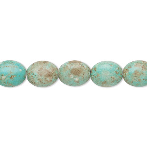 bead, turquoise (imitation), light teal green, 10x8mm-11x9mm puffed oval. sold per 15-inch strand.