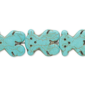 bead, turquoise (imitation), light teal green, 19x15mm-20x15mm carved flat bear. sold per 15-inch strand.