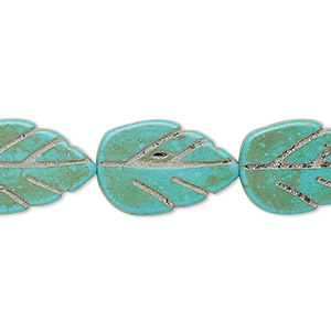 bead, turquoise (imitation), light teal green, 20x13mm-20x14mm carved flat leaf. sold per 15-inch strand.