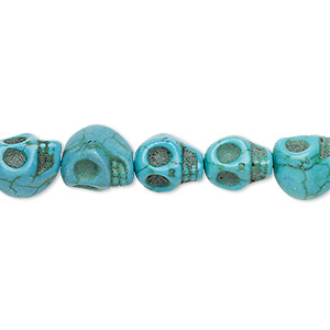 bead, turquoise (imitation), teal blue, 10x8mm-10x9mm skull. sold per 15-inch strand.