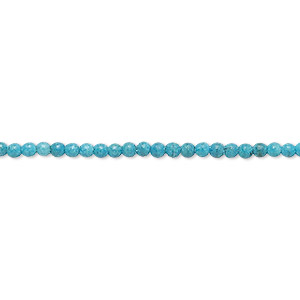bead, turquoise (imitation), teal blue, 2-3mm round. sold per 15-inch strand.
