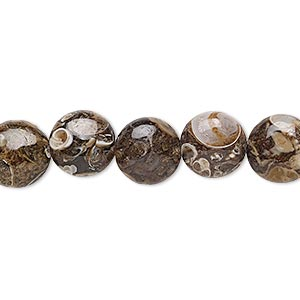 bead, turritella agate (stabilized), 10mm puffed flat round, b grade, mohs hardness 6-1/2 to 7. sold per 16-inch strand.