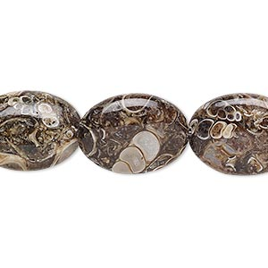bead, turritella agate (stabilized), 18x13mm puffed oval, b grade, mohs hardness 6-1/2 to 7. sold per 16-inch strand.