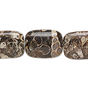 bead, turritella agate (stabilized), 20x15mm flat pillow, b grade, mohs hardness 6-1/2 to 7. sold per 8-inch strand, approximately 10 beads.