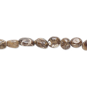 bead, turritella agate (stabilized), small to medium hand-cut pebble, mohs hardness 6-1/2 to 7. sold per 8-inch strand.