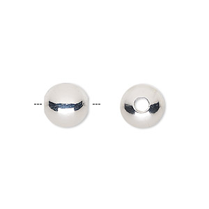 bead, ultra silver-plated brass, 10mm round with 2.5mm hole. sold per pkg of 50.