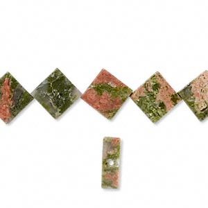 bead, unakite (natural), 10mm flat diamond with 0.5-1.5mm hole, b grade, mohs hardness 6 to 7. sold per 16-inch strand.