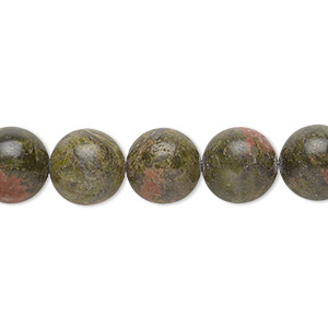 bead, unakite (natural), 10mm round with 0.5-1.5mm hole, b grade, mohs hardness 6 to 7. sold per 16-inch strand.