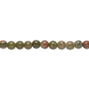 bead, unakite (natural), 4mm round with 0.5-1.5mm hole, b grade, mohs hardness 6 to 7. sold per 16-inch strand.