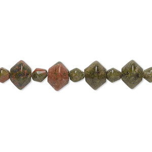 bead, unakite (natural), 4x4mm-8x6mm double cone, b grade, mohs hardness 6 to 7. sold per 16-inch strand.