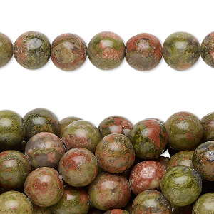 bead, unakite (natural), 8mm round, c grade, mohs hardness 6 to 7. sold per pkg of (10) 16-inch strands.
