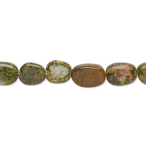 bead, unakite (natural), 8x7mm-12x8mm hand-cut flat oval, c+ grade, mohs hardness 6 to 7. sold per 13-inch strand.