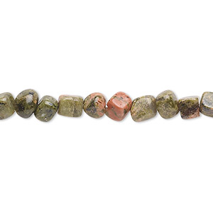 bead, unakite (natural), small hand-cut pebble with 0.5-1.5mm hole, mohs hardness 6 to 7. sold per 16-inch strand.