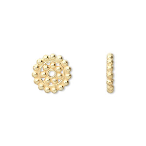 bead, vermeil, 12x2mm beaded rondelle. sold per pkg of 4.