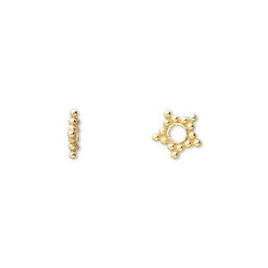 bead, vermeil, 8x2mm star rondelle. sold per pkg of 24.