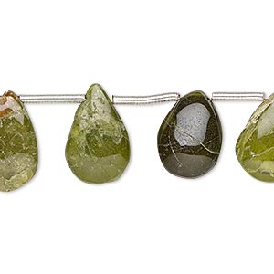 bead, vesuvianite (natural), 11x8mm-18x10mm hand-cut top-drilled puffed teardrop, c- grade, mohs hardness 6-1/2. sold per pkg of 12 beads.