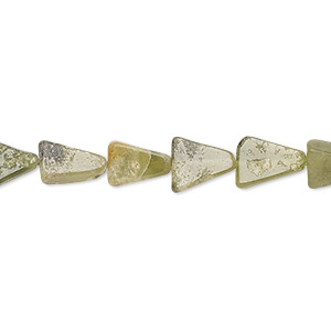 bead, vesuvianite (natural), 7x7x5mm-10x10x8mm hand-cut flat triangle, c grade, mohs hardness 6-1/2. sold per 13-inch strand.