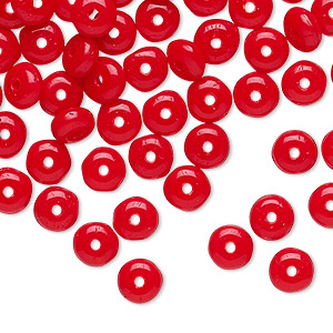 bead, vintage czech pressed glass, opaque red, 4x2mm rondelle. sold per pkg of 100.