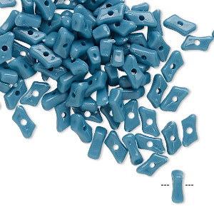 bead, vintage german acrylic, blue, 7x3mm parallelogram rondelle. sold per pkg of 100.