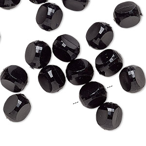 bead, vintage german acrylic, opaque black, 9x9x9mm-10x10x10mm rounded faceted triangle. sold per pkg of 24.