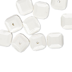 bead, vintage german acrylic, opaque white, 10x10mm beveled cube. sold per pkg of 10.
