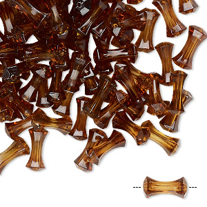bead, vintage german acrylic, smoky brown, 10x4.5mm fancy round tube. sold per pkg of 100.