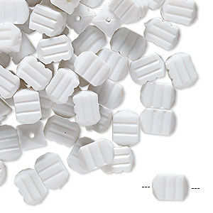 bead, vintage german acrylic, white, 8x5.5mm textured rectangle with line design. sold per pkg of 100.