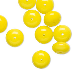 bead, vintage german pressed glass, opaque sun yellow, 11x6mm-12x7mm rondelle. sold per pkg of 10.