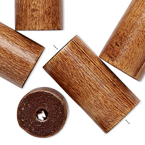 bead, vintage german wood (dyed / coated), brown, 30x16mm round tube with 3mm hole. sold per pkg of 6.