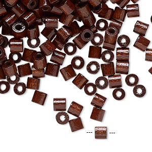 bead, vintage german wood (dyed / coated), dark brown, 4x4mm round tube. sold per 25-gram pkg, approximately 975 beads.