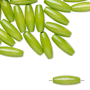 bead, vintage german wood (dyed / coated), green, 14x5mm-15x5mm oval. sold per pkg of 100.