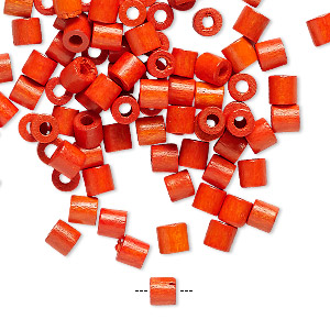 bead, vintage german wood (dyed / coated), orange, 4x4mm round tube. sold per pkg of 100.