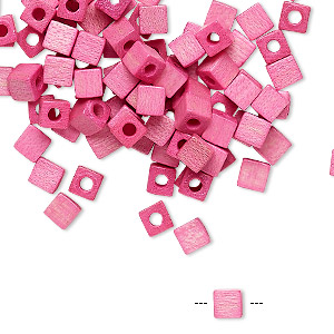 bead, vintage german wood (dyed / coated), pink, 4x4mm cube. sold per pkg of 100.