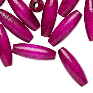 bead, vintage german wood (dyed / coated), purple, 21x7mm oval. sold per pkg of 24.