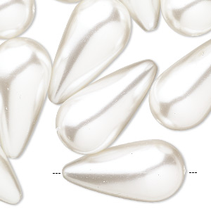 bead, vintage japanese acrylic pearl, white, 27x14mm teardrop. sold per pkg of 14.