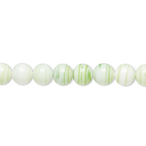 bead, vintage japanese glass, opaque white and spring green, 6-8mm round with stripes. sold per 26-inch strand.