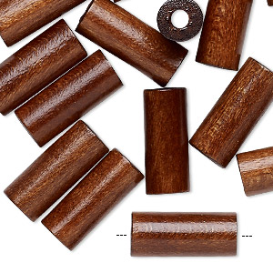 bead, vintage japanese wood (dyed / coated), brown, 19x8mm round tube. sold per pkg of 24.