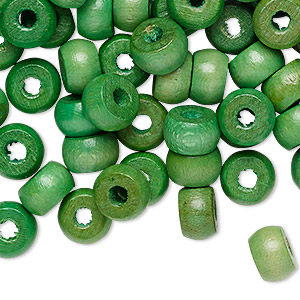 bead, vintage japanese wood (dyed / coated), green, 9x6mm rondelle with 2.5mm hole. sold per pkg of 100.