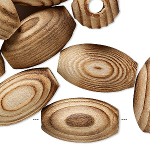 bead, vintage japanese wood (natural), 24x14mm-25x15mm oval with 4.5mm hole. sold per pkg of 24.