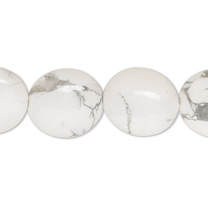 bead, white howlite (natural), 16x14mm flat oval, b grade, mohs hardness 3 to 3-1/2. sold per 16-inch strand.