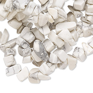 bead, white howlite (natural), medium chip, mohs hardness 3 to 3-1/2. sold per 34-inch strand. minimum 8 per order.
