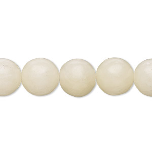 bead, white italian onyx (coated), 11-12mm round, c grade, mohs hardness 3. sold per 14-inch strand.