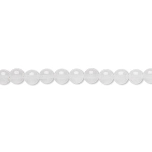 bead, white malaysia jade (natural), 4mm round, b grade, mohs hardness 7. sold per 16-inch strand.