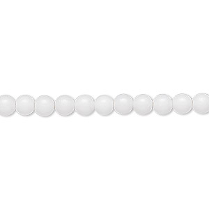 bead, white mountain jade (natural), 4mm round, b grade, mohs hardness 3. sold per 16-inch strand.