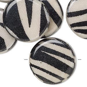 bead, wood / cotton / acrylic, black and cream, 24mm double-sided flat round with zebra stripe pattern. sold per pkg of 8.
