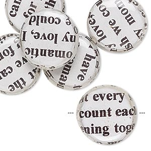 bead, wood / newspaper / acrylic, white and black, 18mm double-sided flat round with phrase in english. sold per pkg of 8.