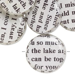 bead, wood / newspaper / acrylic, white and black, 24mm double-sided flat round with phrase in english. sold per pkg of 8.
