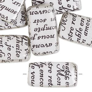 bead, wood / newspaper / acrylic, white and black, 24x14mm double-sided flat rectangle with phrase in french. sold per pkg of 8.